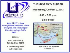Bible Study at The University Church - Wednesday, October 9, 2013, 6:00 - 7:30 p.m.