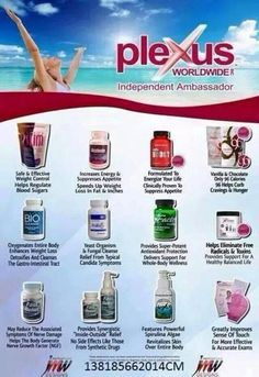 Plexus is about overall health!  Check out all of our wonderful products!  I will be glad to answer any questions!  www.plexusslim.com/robinmccartney  Ambassador #207217