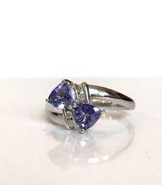 Tanzanite Diamond Ring Sterling Silver Purple Gemstone Ring 2