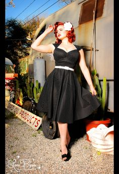 Heidi Dress in Black Pin Dot Pinup Couture