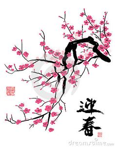 Chinese Ink Painting - Cheery Blossom in the Spring