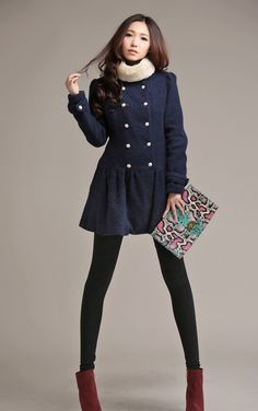 Korean Fashion Stand Collar Double-Breasted Woolen Coat