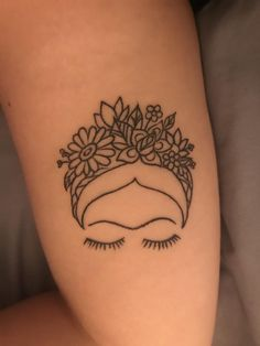 Frida Khalo done by Dani from Authentic Art in Ann Arbor MI Tiny Tattoos For Girls, Hand Tattoos For Women, Little Tattoos, Small Tattoos, Small Meaningful Tattoos, Small Tattoo Designs, Temporary Tattoos, Line Art Tattoos, Mini Tattoos