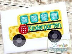 Kindergarten Bus Applique - 4 Sizes! | What's New | Machine Embroidery Designs | SWAKembroidery.com Creative Appliques