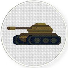 Handmade Unframed Military Tank Cross Stitch by CustomCraftJewelry