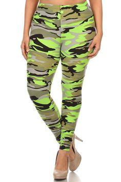 Neon Green Camo Design Plus Size Leggings