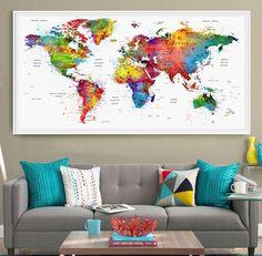 World map wall art, customization world map, personalized map, travel decor World Map Decor, World Map Poster, World Map Wall Art, Push Pin World Map, Watercolor Map, Extra Large Wall Art, Travel Themes, Photos, Lounge