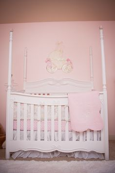 Parisian Pink Nursery Damask Crib Set Pom Pom Decoration