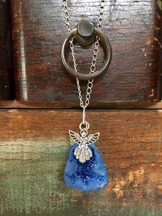 Necklace Blue Druzy Quartz Agate Gemstone by AdornmentsByDonna