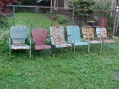 Vintage Lot Of 6 Metal Lawn Chairs