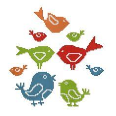 BIRDS CROSS STITCH PATTERN - PDF FORMAT