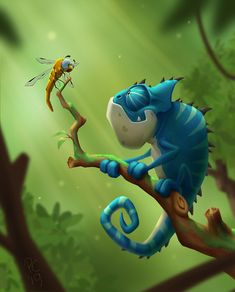 Fantasy cartoony illustration of a chameleon Cute Animal Drawings, Cartoon Drawings, Cute Drawings, Cartoon Art, Cute Illustration, Character Illustration, Cameleon Art, Character Art, Character Design