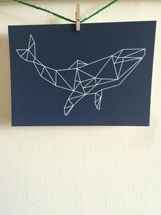 Geometric Whale Postcard Print  Navy