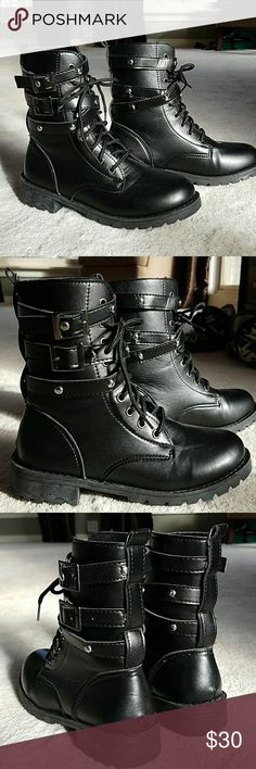Buckled Combat Boots Brand new!! I absolutely love these boots. I just bought them and, sadly, they are too small 😢😭  Super lightweight and comfortable.   30% off bundles of two or more items!! Shoes Combat & Moto Boots