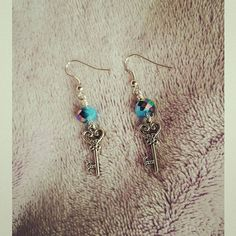 Hey, I found this really awesome Etsy listing at https://www.etsy.com/listing/233262900/blue-key-charm-earrings