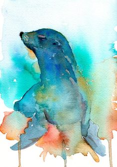 Seal Abstract Watercolor Painting Sea Lion Art Print by Artist DJ Rogers