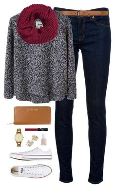 """ootd"" by classically-preppy ❤ liked on Polyvore featuring J Brand, Dorothy Perkins, Acne Studios, Converse, H&M, MICHAEL Michael Kors, NARS Cosmetics, Kate Spade and Essie"