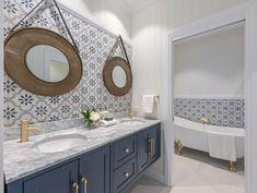 Hampton's Navy Bathroom Vanity Cabinet - Modern Blue Bathroom Vanity, Navy Blue Bathrooms, Blue Vanity, Bathroom Vanity Cabinets, Bathroom Vanities, Classic Bathroom, Modern Bathroom, Small Bathroom, Master Bathroom