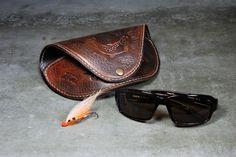 Handmade leather fly fishing sunglasses case