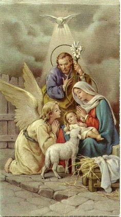 The most Holy Family Of all Nativity or our Lord Jesus Christ Christmas Scenes, Christmas Nativity, Christmas Past, Christmas Pictures, Christmas Angels, Vintage Holy Cards, Vintage Christmas Cards, Catholic Art, Religious Art