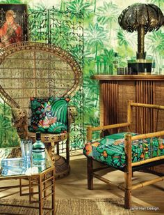 Tiki Style: Whether it's the real thing or on fabric or wallpaper, nothing brings the tropical style flair home more securely than displaying some big-leaf plants. Think banana plants, oversized fronds, and a variety of lush greenery. Style Tropical, Tropical Design, Tropical Decor, Tropical Fabric, Cane Furniture, Bamboo Furniture, Tropical Furniture, Décor Tiki, Tiki Art