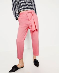 ZARA BAGGY POPLIN TROUSERS PANTS Bubble gum Pink Cropped trousers. High waisted. Side pockets. Front zip closure. Buckles on the waist. Tie belt. Cropped trousers. 100% cotton. | eBay!