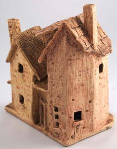 Houses, cone 6 stoneware by Dave the Potter Clay Houses, Putz Houses, Ceramic Houses, Miniature Houses, Ceramic Clay, Fairy Houses, Ceramic Pottery, Mini Houses, Small Houses