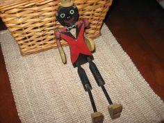 Antique Folk Art Dancing Wood Black Americana Man Toy | eBay