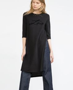 ZARA - NEW IN - LONG T-SHIRT WITH SLITS