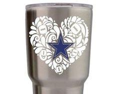 Girly Dallas Cowboys Decal, Dallas Cowboys decal for girls, Cowboys sticker, Custom Dallas Cowboys yeti, Custom Cowboys decals, Esty Decals