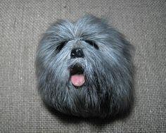Lhasa Apso Dog Magnet Fur Head Realistic Resin 3D Animal
