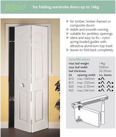 Bi-folding door. This is the answer to our bathroom! It's so small the door slams into the toilet and makes it hard to stand inside with the door open (and it can't open out into the kitchen because of the fridge).