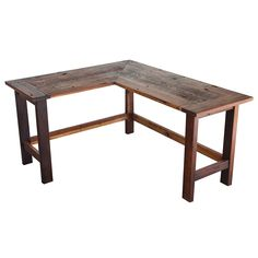 """This is a reclaimed barnwood L-shaped desk that has been custom made to  order. The dimensions are roughly 50"""" on the outside long end, 35"""" on the  shorter end, 20 inches deep and 28"""" high.  This same desk can be made to almost any dimensions. If interested please  inquire about pricing."""