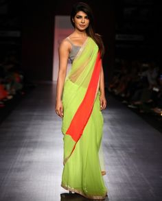 Priyanka Chopra Lime Green Georgette Saree.Try celebrity look now @ Looksgud.in #PriyankaChopra #Saree #Lemon #Green #Bollywood