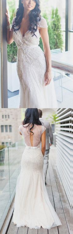 Beaded Wedding Dresses, Cute Wedding Dresses, White Wedding Dresses, V Neck Wedding dresses, Long Wedding Dresses, Sheath Wedding Dresses, Long White dresses, White Long Dresses, V Neck dresses, Cute White Dresses, Zipper Wedding Dresses, Beaded/Beading Wedding Dresses, V-Neck Wedding Dresses, Sheath/Column Wedding Dresses