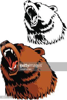 Vector Art : Roar of Grizzly Bear
