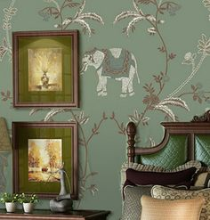 Mural 3d Wall Paper Embroidery Coconut Elephants Wallpaper Asia Stickers India Elephant