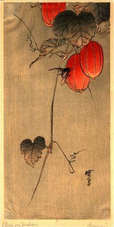 Kawanabe Kyōsai (aka, Kawanabe Gyosai) (Japanese, 1831–1889): Bee on Melon.