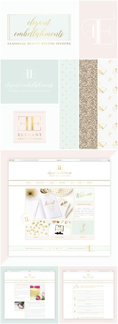 www.brandmebeautiful.co.uk | enquiries@brandmebeautiful.co.uk | Elegant Embellishments Brand Design #branding #brand #design #logo #luxe #inspiration #colour #gold #glitter #pink #blush #mint #turquoise #website