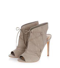 Grey Suedette Lace Up Heeled Boots