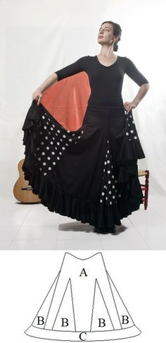 Flamenco dance skirt with 6 keels, 6 godets and 1 flounce Dance Outfits, Dance Dresses, Flamenco Skirt Pattern, Clothing Patterns, Dress Patterns, European Costumes, Costume Craze, Sewing Clothes, Refashion