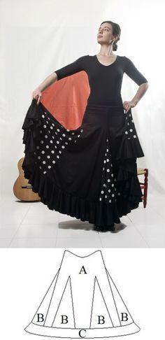 Falda de baile flamenco con 6 quillas, 6 godets y 1 volante