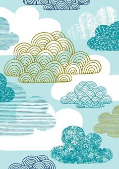 Giclee print by Eloise Renouf entitled, Blue Clouds. I like the fun graphic look of the clouds. {Etsy}