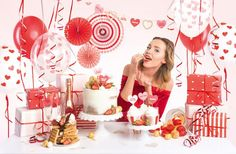 Party decorations set - Sweet Love, set contains: paper garland piece), decorative rosettes pieces), muffin wrappers pieces), cupc Więcej. Party Set, Happy Birthday, Red Satin, Paper Decorations, Love Is Sweet, Streamers, Rosettes, Cupcake Toppers, Balloons