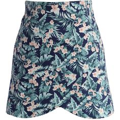Chicwish Tropical Posies A-line Flap Skirt in Navy (52 AUD) ❤ liked on Polyvore featuring skirts, multi, polka dot skirt, a line skirt, cotton a line skirt, navy cotton skirt and asymmetrical skirt