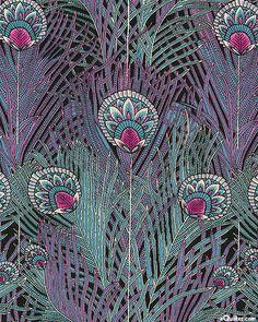 Reagent Peacock - Decorative Feathers - Grape - Cotton Lawn