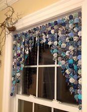 Primitive/Country Yoyo Beautiful In Blues, valence/ curtain, handmade, Brandnew
