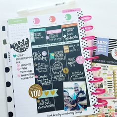 WEBSTA @ planthehappies - Happy hump day! I've been loving my #blackout layout this week! I just love the chalkboard feel to it. It's just black cardstock and a white…