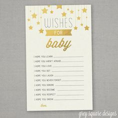 Wishes for Baby - Baby Shower Printable - Immediate Download - Gold Stars on Etsy, $6.50