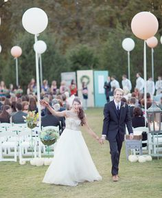 Outdoor Ceremony Giant Balloons And Check The Shabby Chic Doors As Alter Brunch Wedding